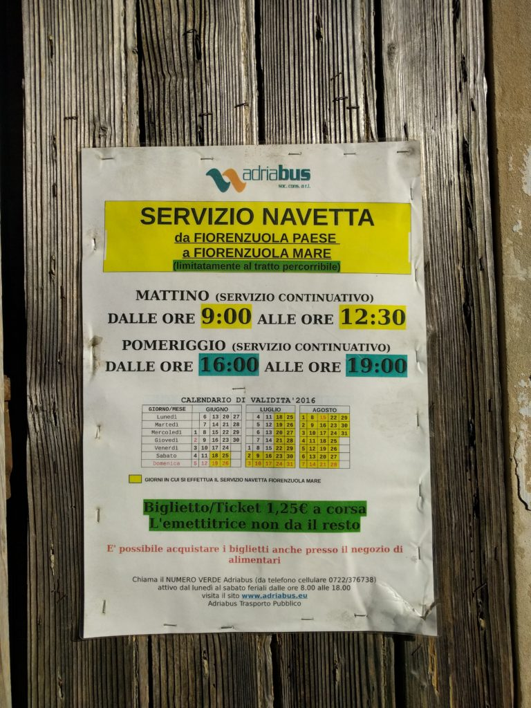 shuttle service for the beach of Fiorenzuola